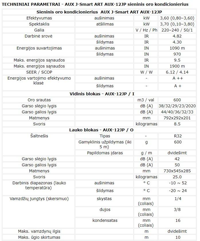 AUX J-Smart ART 12JP techninės charakteristikos